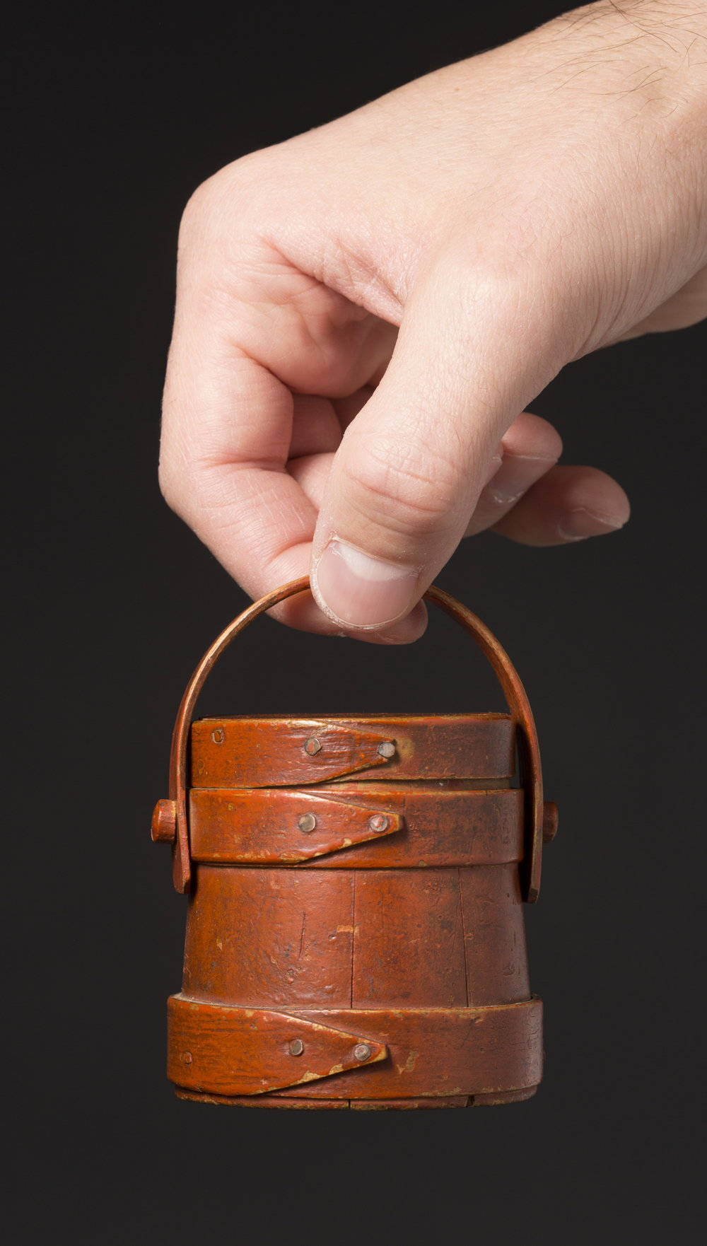 Miniature Bucket in Original Red Paint, Hingham, MA, ca. 1850