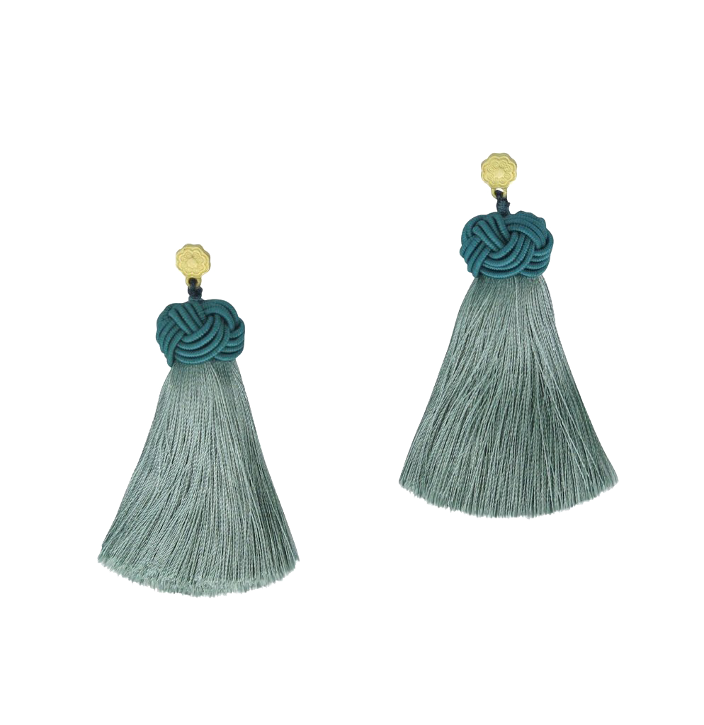 HART Topknot Tassel Earrings in Sage