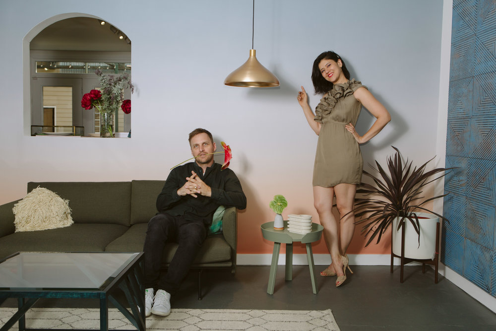 Ivy with her husband Josh at their design shop Wilder.