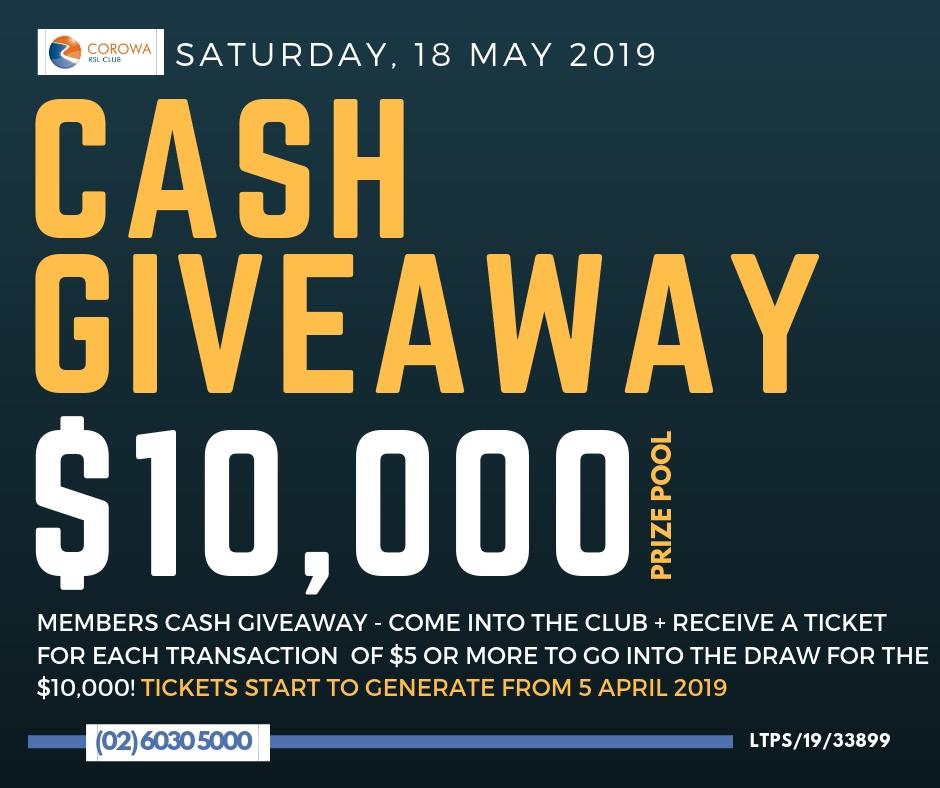 $10,000 Cash Giveaway — Corowa RSL Club