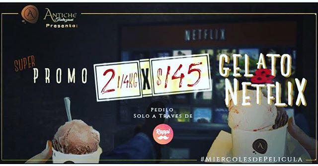 Antiche Tentazioni  presenta: #MiercolesdePelicula  Esta noche vos sos el #protagonista .  No te podes perder esta #superpromo de #gelatoandnetflix que ya es un clásico en #Antiche.  Hace tu pedido y disfrutá en casa en compañía viendo tus series y películas favoritas. Llévate 2 gelatos de 1/4 a tan solo $145.  Pedilo solo a través de @rappiargentina  www.antiche-tentazioni.com Dirección: Honduras 4770 | Palermo Soho - Bs As CABA (Argentina) | Tel: 011 4832-2318  #antiche #AnticheTentazioni #gelato #gelateria #GelatoItaliano #icecreamshop #heladeria #Helados #anticheonline #palermosoho #argentina #helado🍦 #heladositalianos #gelatoboutique #heladosgourmet #heladogourmet #elmejorhelado #bestgelatoever #gelatodautore #helados #heladosartesanales