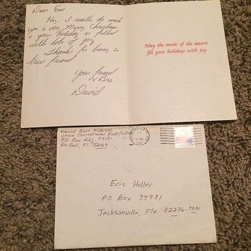 David Gore Signed Greeting Card Envelope Set True Crime Auction House
