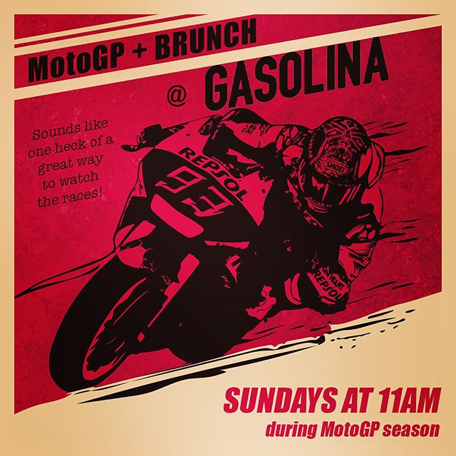 Did you hear that, Oxnard? That's the sound of MotoGP ripping it's way to Gasolina every Sunday of the race season. Come on out, enjoy the races, and fill your tummy with the good fuel! Every Sunday at 11am... 👊✊️🤘!!!! #Gasolina, #MotoGP, #YumYum