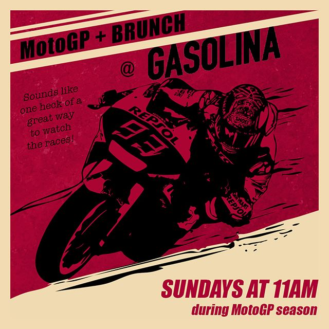 What better way to enjoy the Grand Prix de España than with some tasty Spanish brunch? Come on out tomorrow at 11am for MotoGP, get that belly full, and twist it to the stop! #MotoGP, #Brunch, #MeetMeAtGasolina, #GoodStuff, #GasolinaTapas