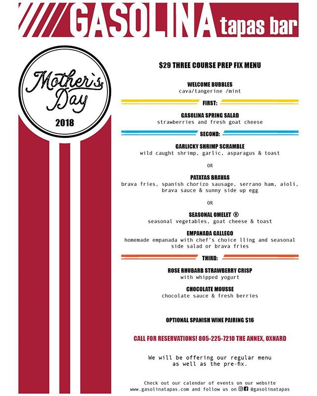 Join us for Mother's day !! Walk ins welcome ! Feliz día de mamá ! #gasolinatapas #thecollectionrp #theannexrp