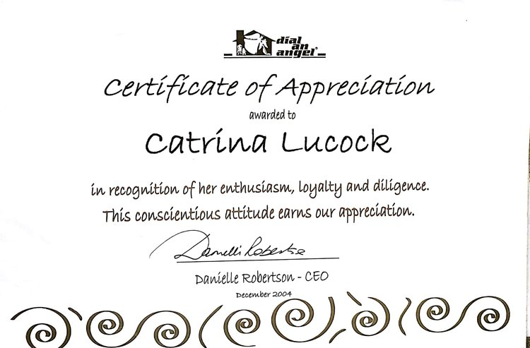 Endorsement catrina lucock certificate of appreciation december 2004 angel of month2g yadclub Gallery