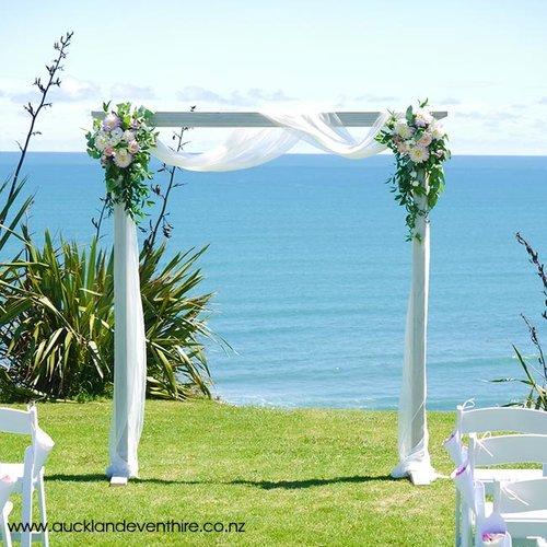 Whitewash Wooden Wedding Arch Auckland Event Hire