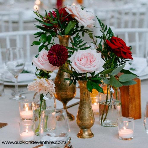 Brass Vases Auckland Event Hire