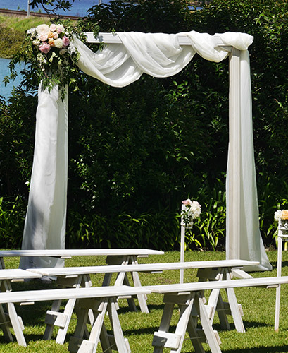 auckland wedding hire pop up ceremony set diy cheap