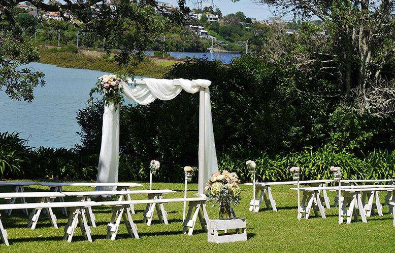 auckland wedding hire pop up ceremony set diy complete outside