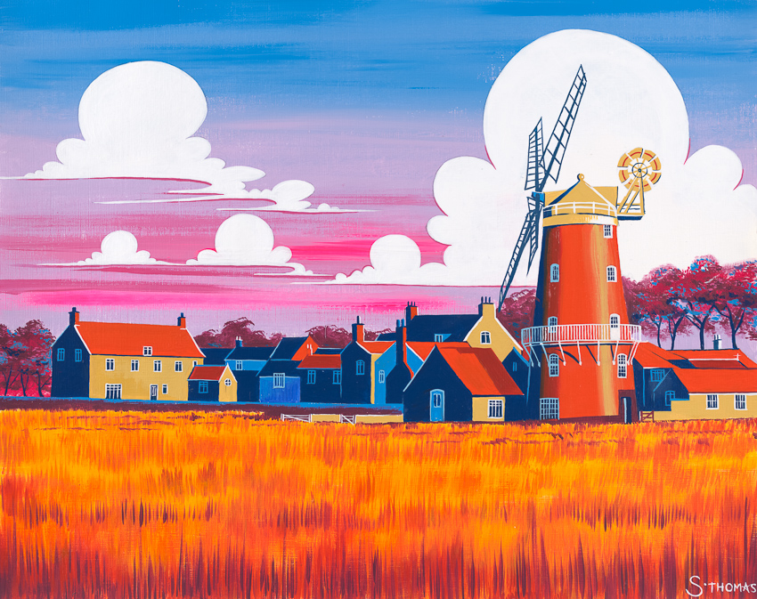 'Summer Sunset at Cley Mill' (Norfolk)