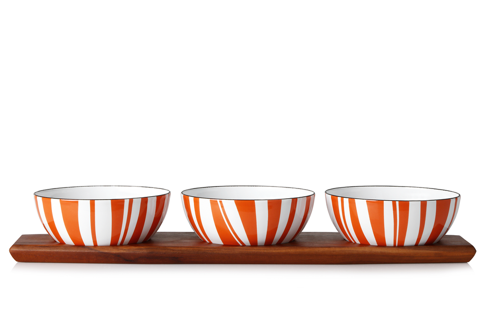 Snackset - 3 pcs bowls (10cm) orange + tray