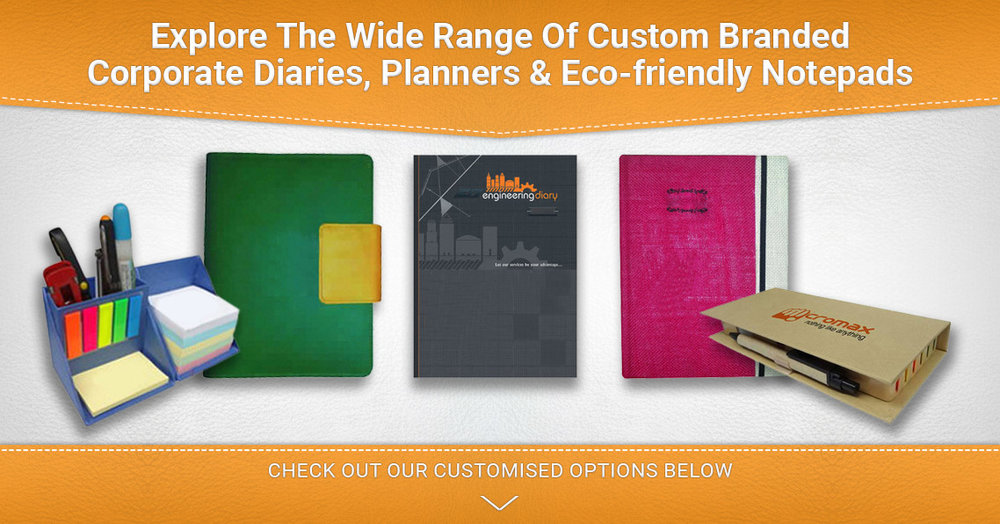 customised planners diaries and notepads as corporate gifts