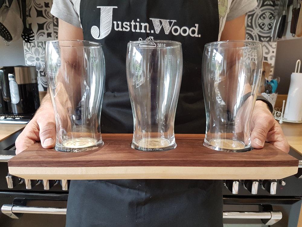 Modern Beer Tasting Tray Beer Flight Walnut Maple