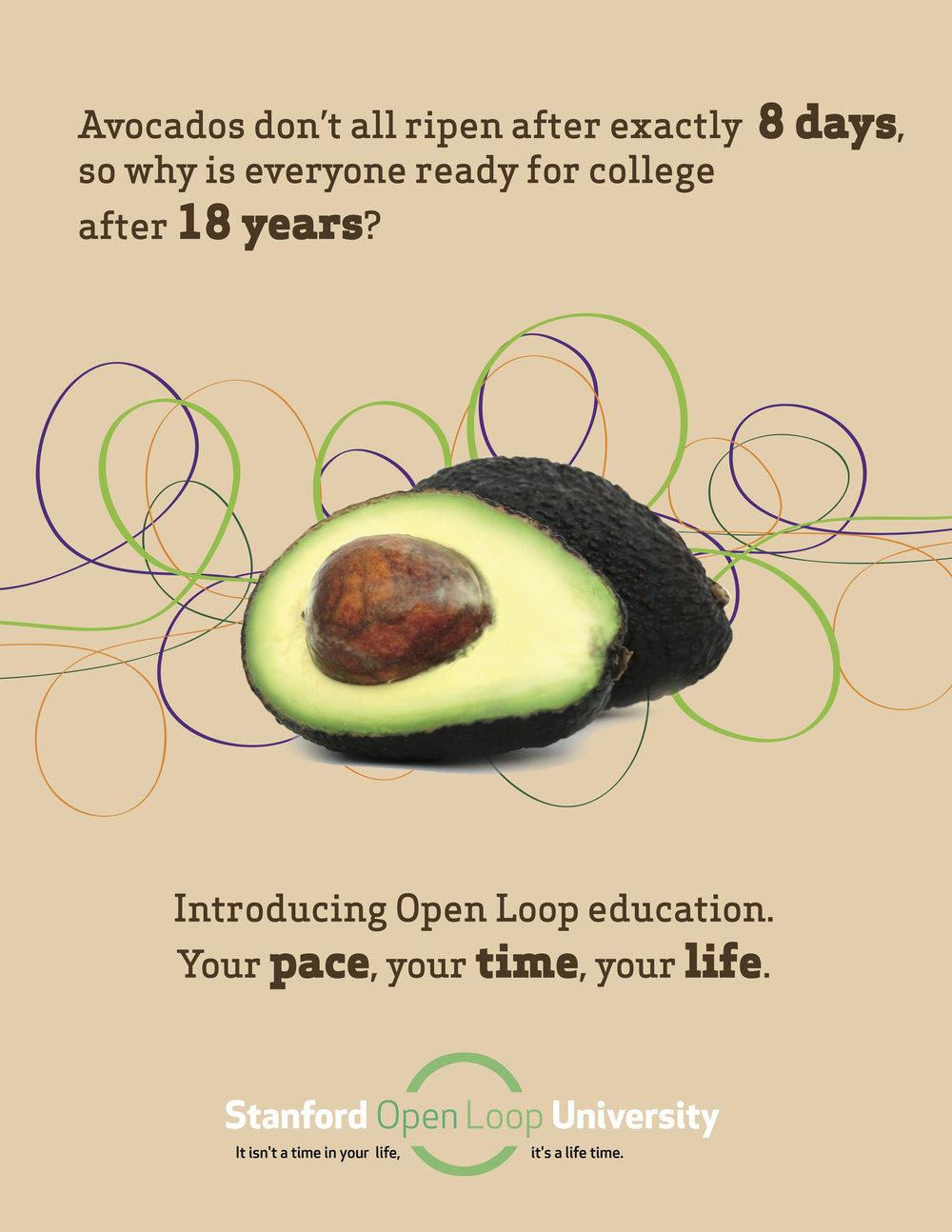 不是所有的牛油果8天内就成熟,为什么所有人都要在18岁的时候准备去上大学呢?——开环大学概念海报