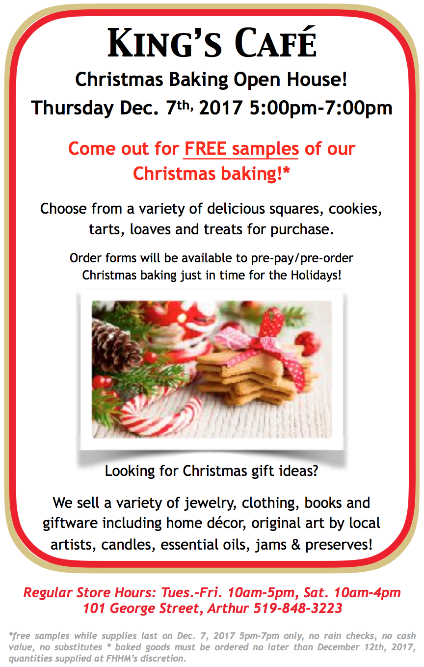 Christmas Baking Open House! — Father\'s Heart Healing Ministries
