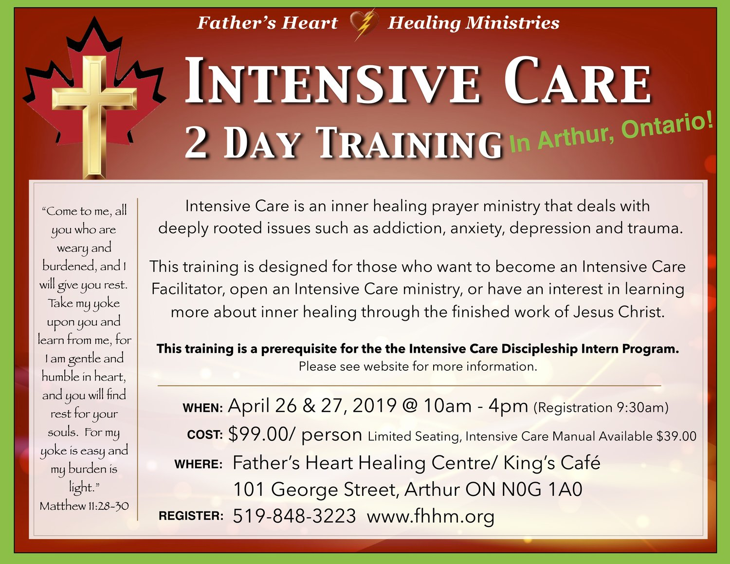 Intensive Care Training - Arthur, ON — Father's Heart Healing Ministries