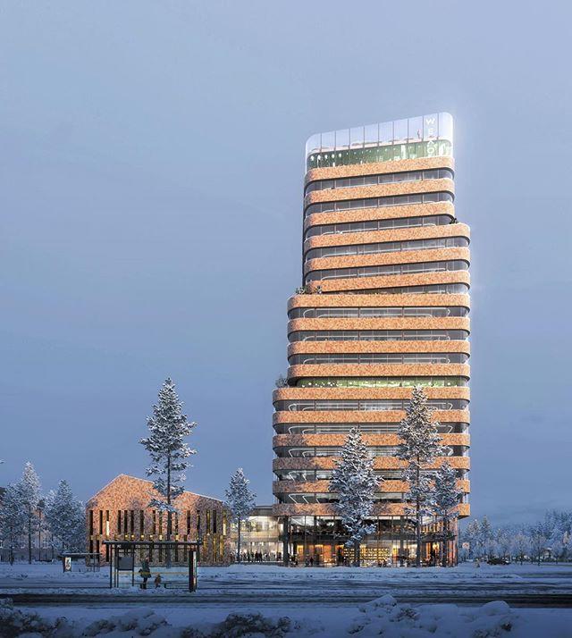 Svepande fasadband av träspån i kombination med högteknologiskt glas. Det tycker vi passar Växjös blivande innovationshub #WeXO.  #småland #innovationshub #woodarchitecture  #renderoftheday #architecturerender