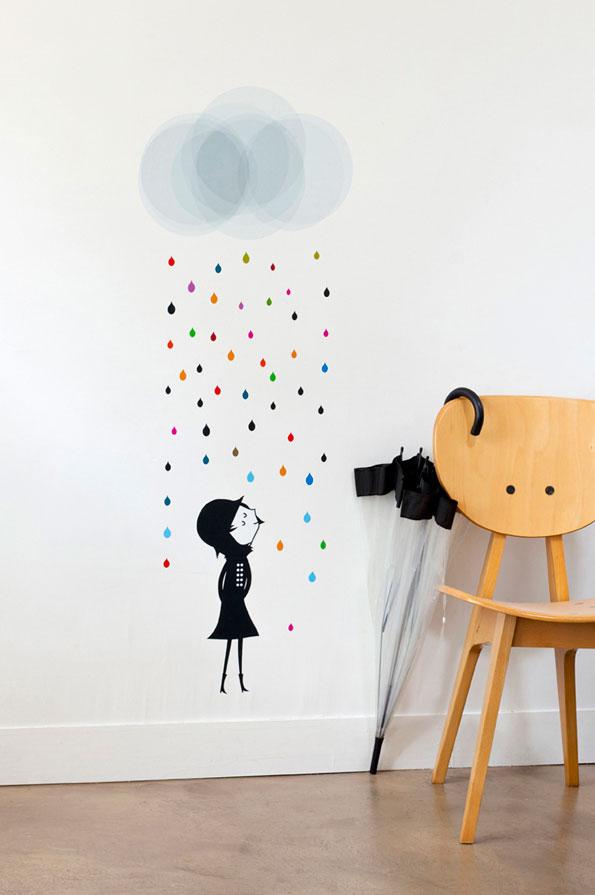 Sticker Mademoiselle Sous La Pluie