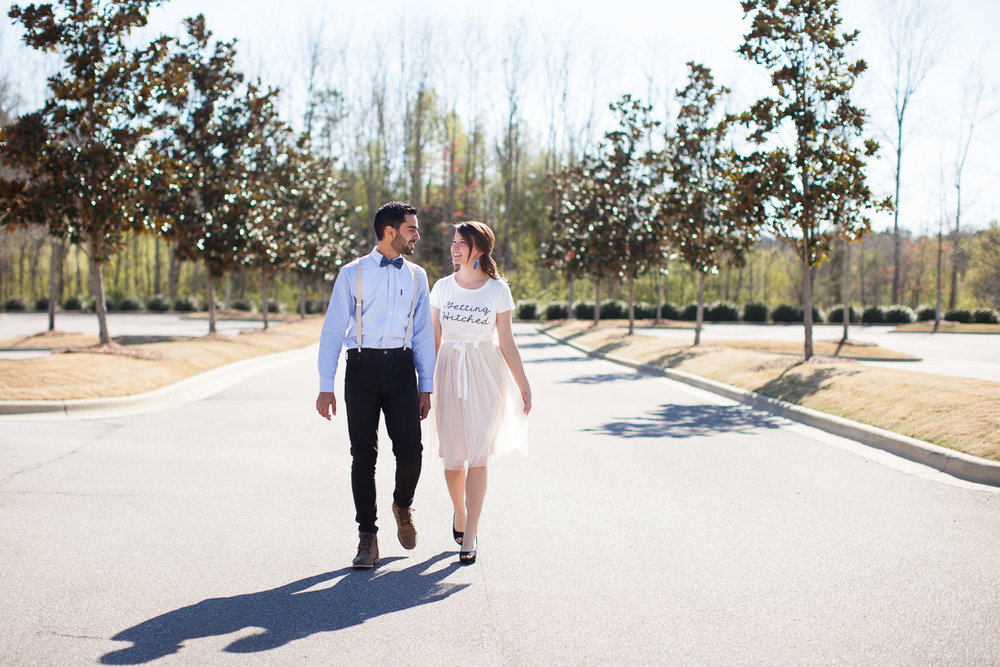 A spring engagement session is also a perfect time to rock suspenders and a bow tie and an adorable t-shirt and tulle skirt!