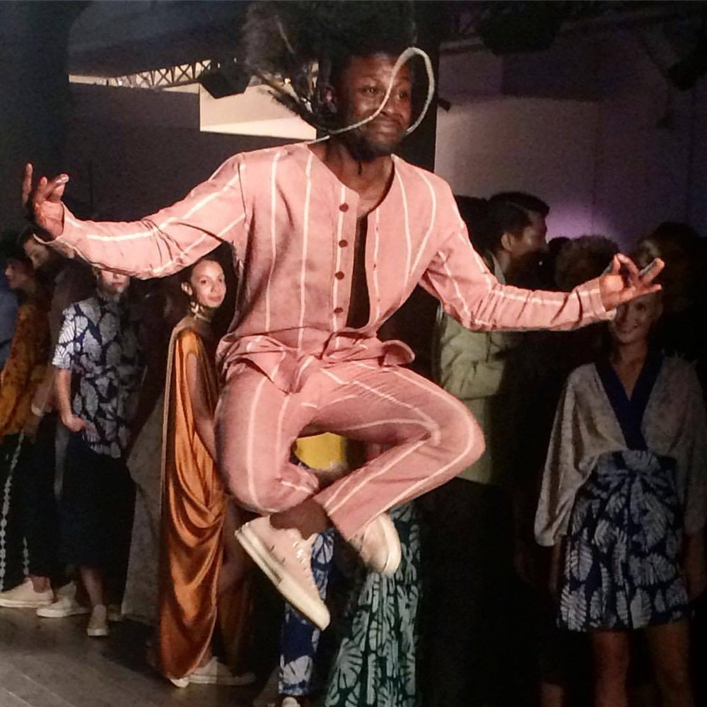 Jump around in Xoomba organic cotton!  What a photo catch of this model in the NYC fashion week of September 2017