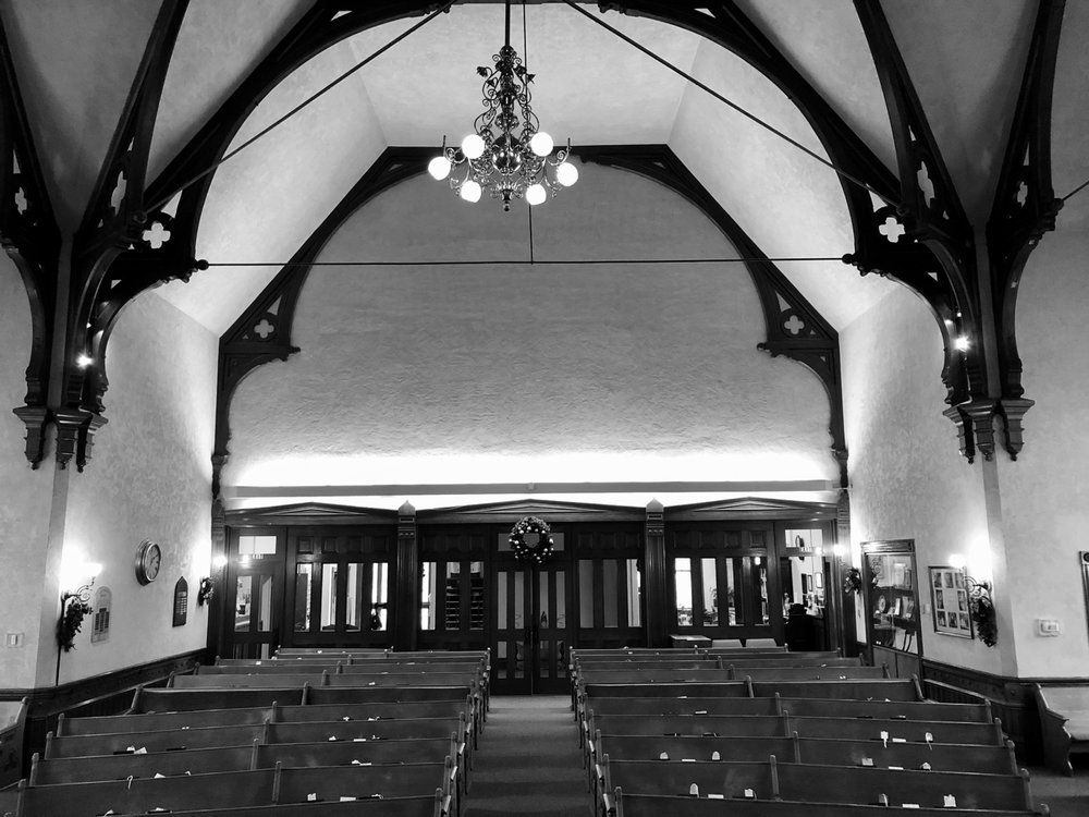 The sanctuary today (with the chandelier above).