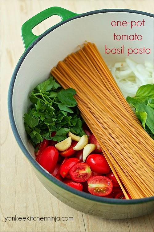 one pot tomato basil pasta - yankeekitchenninja.com