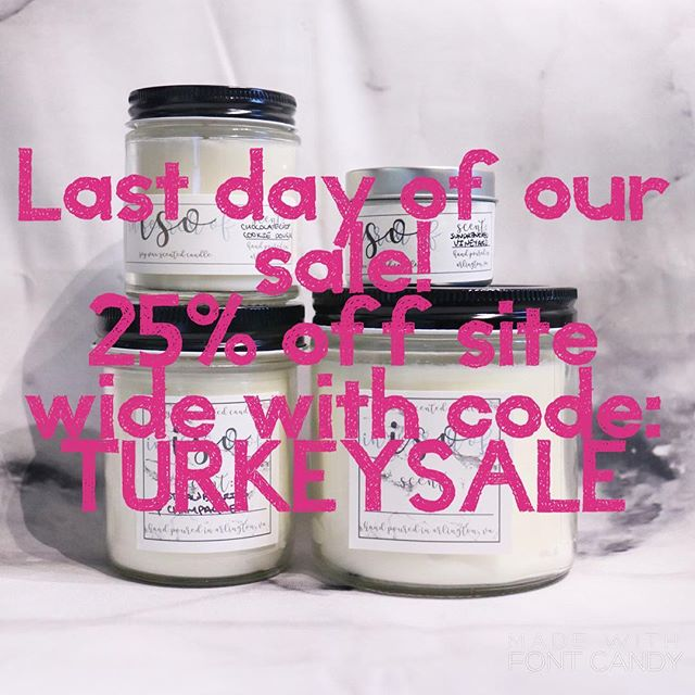 Still looking for a deal on some holiday gifts? We've got you covered! Use code TURKEYSALE for 25% off site wide! . . . . #candles #soycandles #etsy #handpoured #womanowned #isocandles #iso #smallbusiness #arlingtonva #shoplocal #dc #dmv