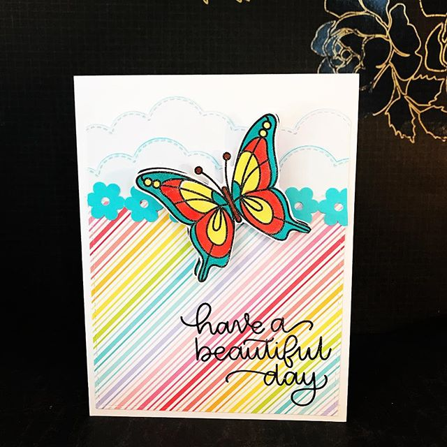 @simonsaysstamp My kit finally arrived!!! All who know me know I love butterflies!!!! Here is card 1.  May have to send a search party to find me tonight. 😍😍😍 #simonsaysstamp #sssck #simonsaysstampcardkit #eviedoesit #greetingcards #handmadegreetingcards #butterflies #lawnfawn #papercrafts #smallbusiness