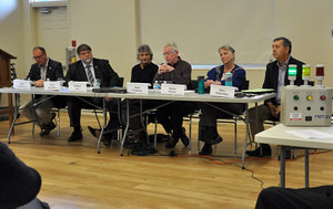 From left, Clearview Council candidates include for mayor  Chris Vanderkruys ,  Doug Measures ; for Ward 5,  Anthony Sist ,  Thom Paterson ; for Ward 2,  Donna Baylis ,  Doug McKechnie  at the all candidates meeting, October 14, 2018 hosted by CARA. Photo courtesy Creemore Echo.