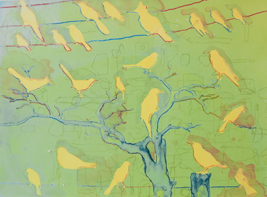 Snared (Yellow Birds), 2012  silkscreen monotype  plate size 16 x 1/2 x 23 inches paper size 22 x 27 1/2 inches $700