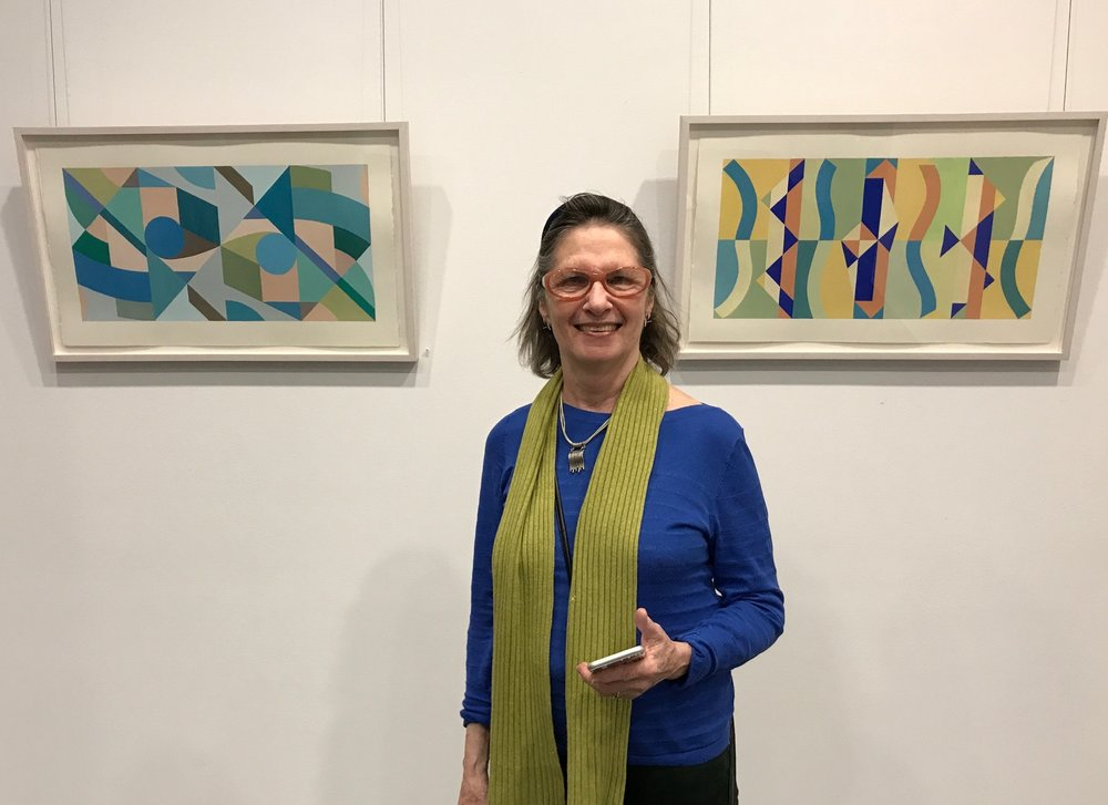 Julie Gross with her work