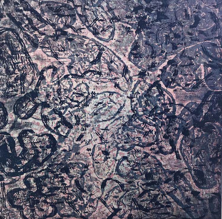"DitDot #2. Monoprint. Paper size 25 x 22"", plate size 16"" sq. $2000"