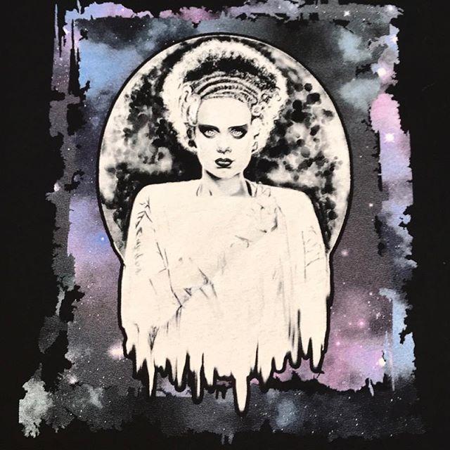 Bride of Frankenstein print. #screenprint #screenprinting #silkscreen #plastisol #ink #shirts #tee #custom #process #brideoffrankenstein #monsters