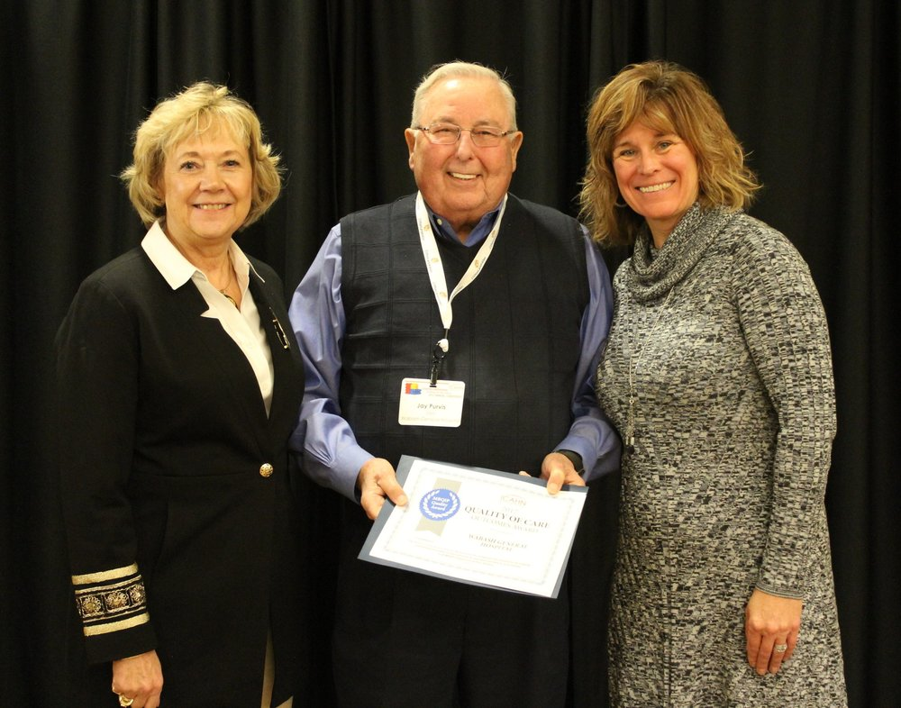 PICTURED: Pat Schou (left), ICAHN Executive Director; Jay Purvis, WGH CEO; and Angie Charlet, ICAHN Director of Quality, Education Service and Compliance