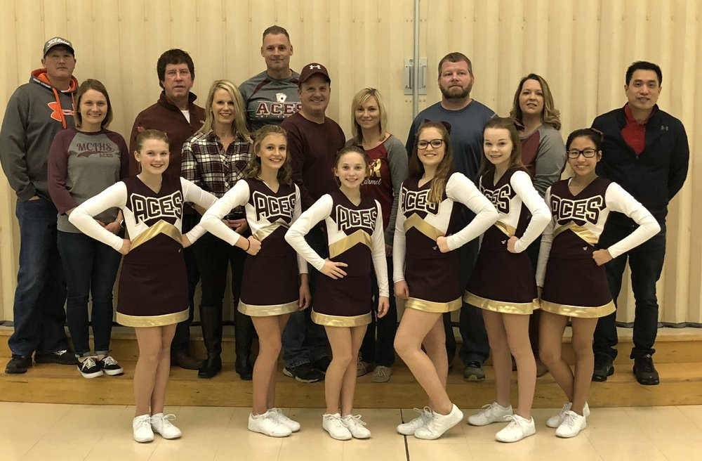 Cheerleaders  Daisy Schrader, with parents Matt and Kristi Schrader, Audra Robinson, with parents Wade Robinson and Sonya and Tim Shular, Makayla Beesley, with parents Mike and Jennifer Beesley, Alexzandria Hicks, Avery Hayden, with parents Amy and Jeremy Hayden, and Annie Lin, with parent Robert Lin.