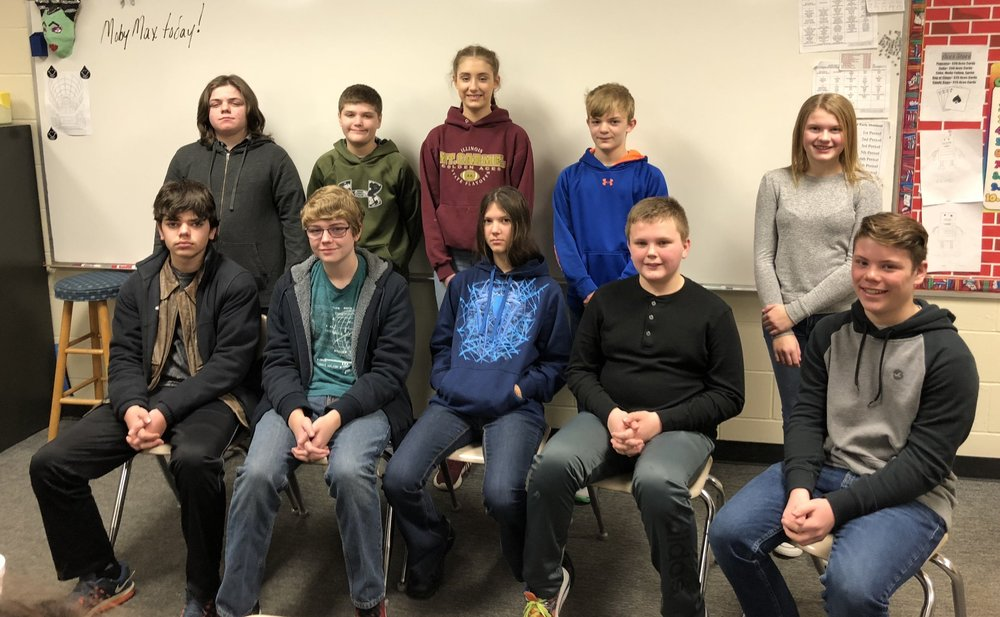 Participants from left to right were (Top Row): Liam Tkacz, Joseph Wood, Braelyn Patton, Jorden Wood, Daisy Schrader (Front Row) Austin Satava, Caleb Stevenson, Iris Miskell, Eli Sherman, and Dirk Kight.