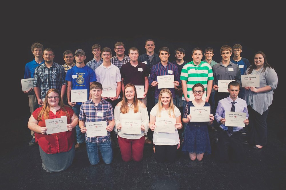 Photo Caption: CTE Award recipients are pictured, left to right, Back row: Dalen Stopher, Garrett Williams, Luke Shan, Tyler Buerster, Austin Woods, Jacob Williams, Mitchell Levi, Jared Taylor; Middle row: Jacob Webb, Clayten Traub, Jeffry Siegle, Derek Ochs, Sampson Folsom-Margelin, Lucas Keele, Justin Berberich, Taylor Waggoner; Front row: Cierra Harper, Ryder Collins, Taylor Schymick, Chelsey Boulb, Katelyn Hatfield, Gavin Martin.