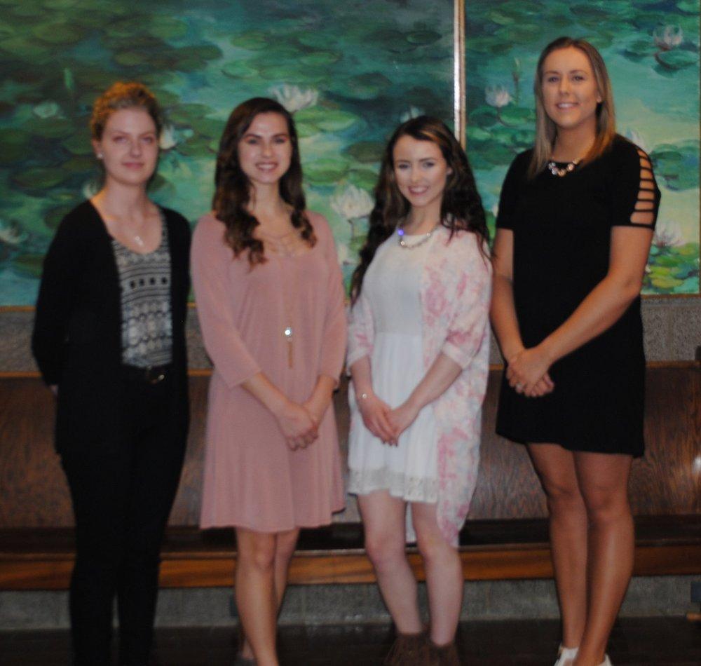 Phi Theta Kappa Officers, left to right: Lauren Goodson, Katie Hnetkovsky, Amanda Hundley, Christy Haase