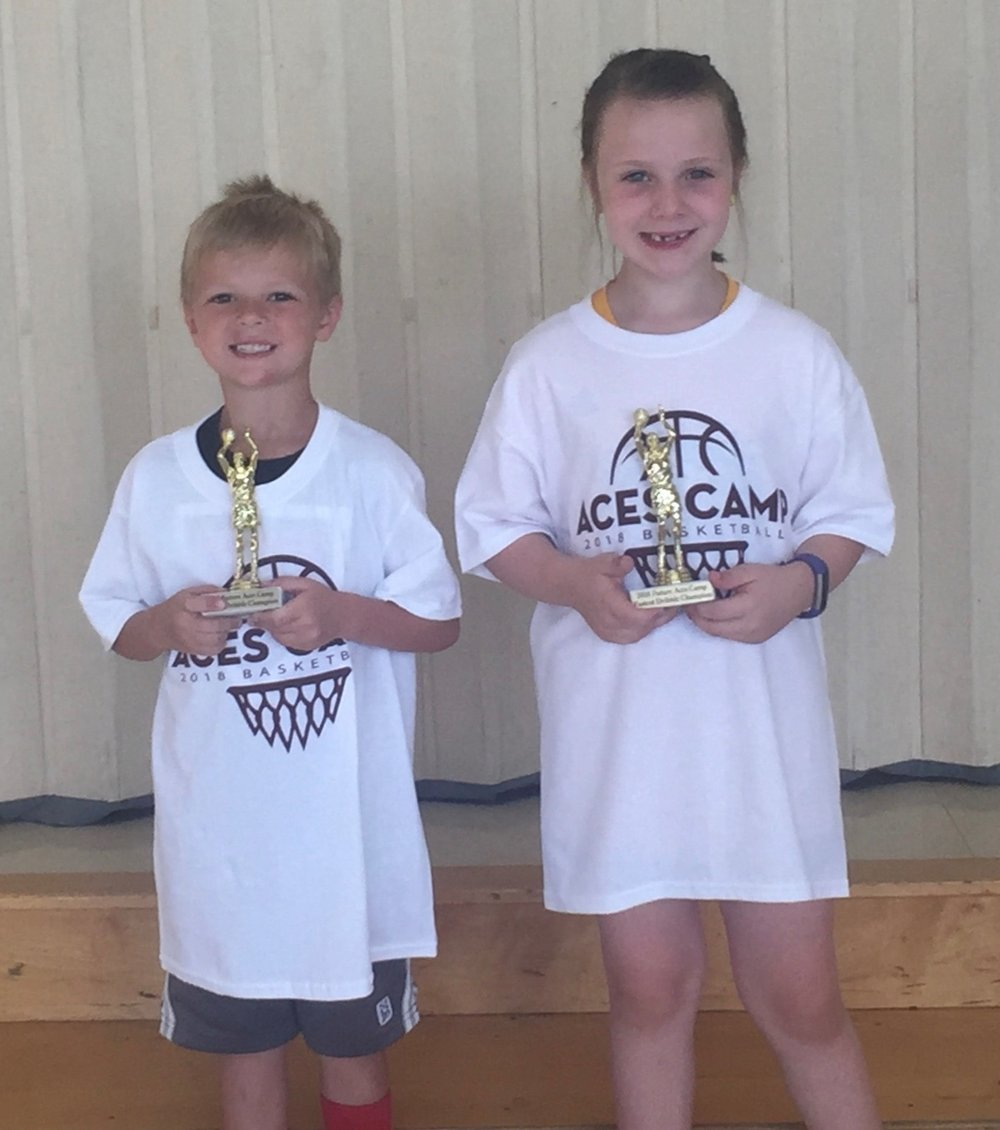 Dribble Cone Fast Dribble Champs (L-R)  K-1 - Brady Hershey  2 - Macy Glenn  3 - not pictured Mataio Militoni