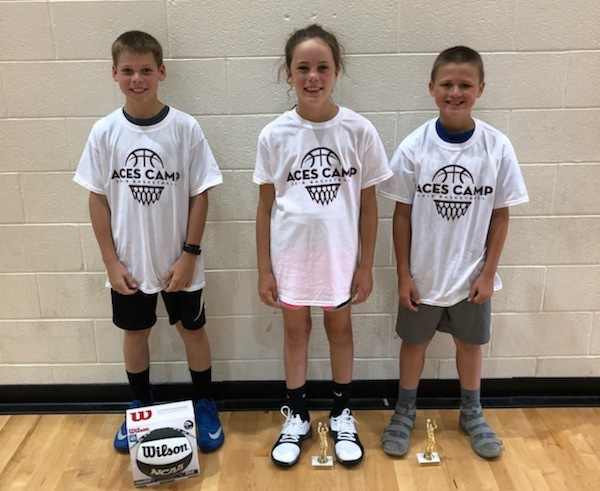 Hot Shot Shooting Champions: (L-R)  6th Grade - Tobias Fullop  5th Grade - Macee Randall  4th Grade - Owen Blake