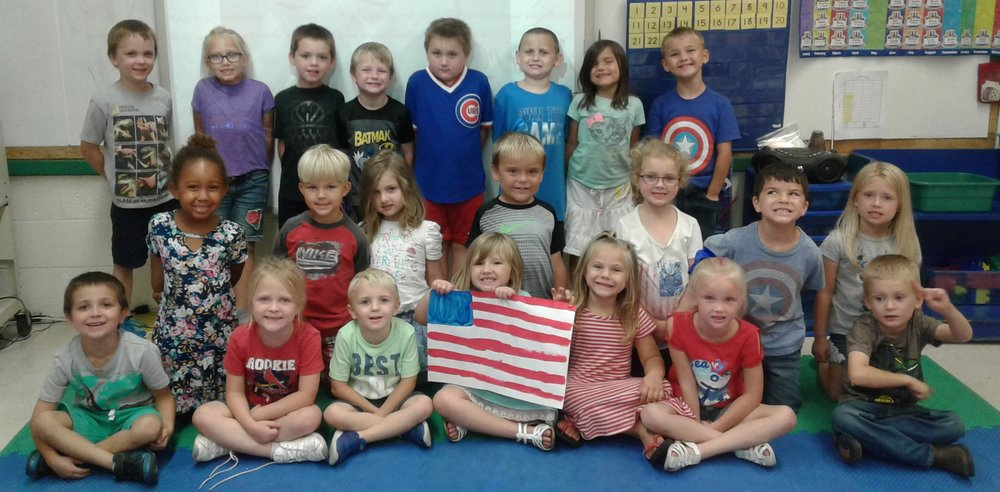 Mrs. Satava's class at MCES learned about the flag and they each will get to paint a flag of their own for Constitution Week.