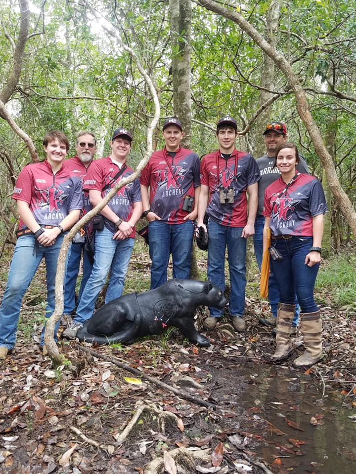 The WVC Archery Team, pictured left to right: Karissa McIntire, Head Coach Earl Lawrence, Zachary Kemper, Jacob Quillen, Taylor LaVarier, Mike Quillen (Father of Jacob Quillen), and Jessica Shilling.