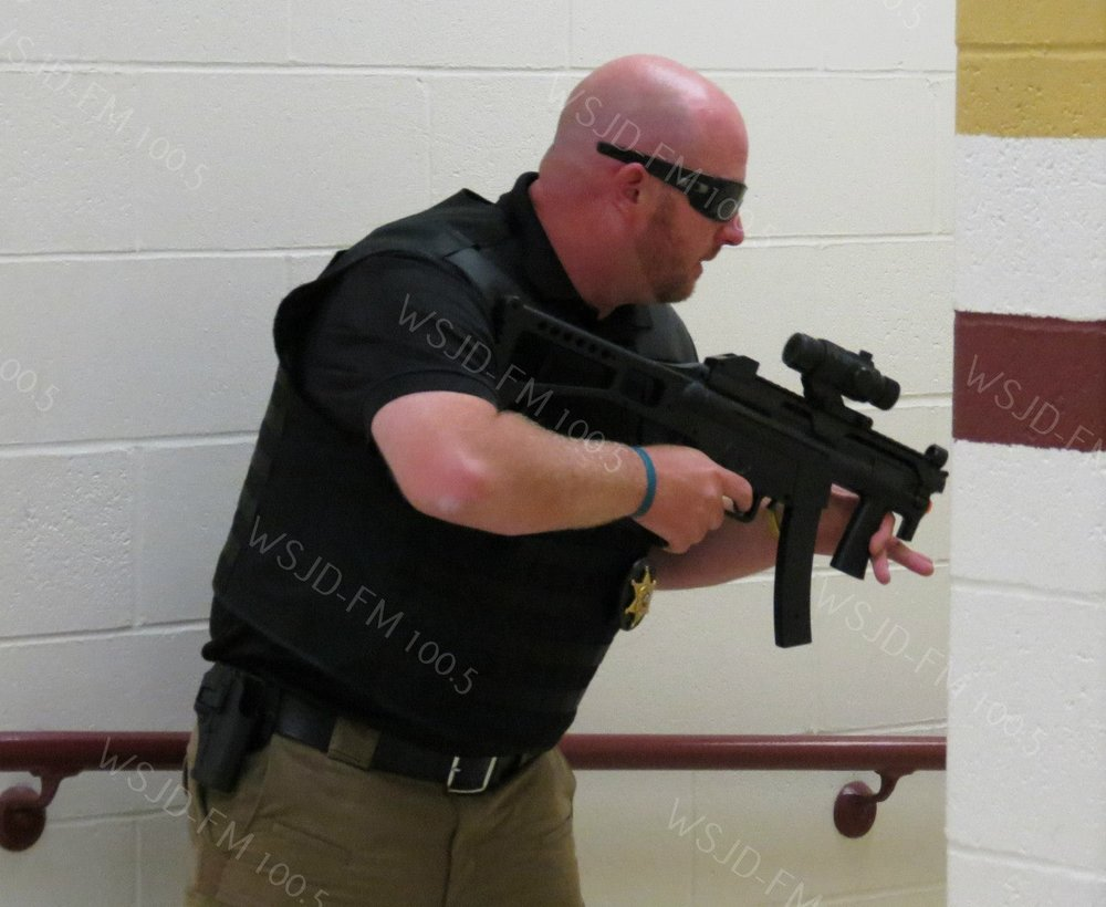 WSJD File Photo of Sheriff Derek Morgan participating in a shooting scenario from 2015.