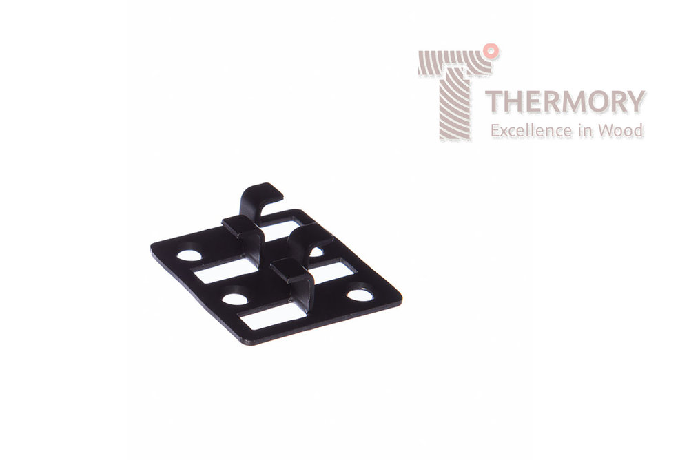 B2-B - B2-B Thermory® Steel Clips are screwed into the joists and the decking boards simply slot into the profile.Product InformationSimple Thermory® Hidden Fixing SystemEasy installationNo visible screwsQuick installation without specialized toolsB2-B Leaves a 6mm gap between boardsAvailable in stainless steel & black-coated steel
