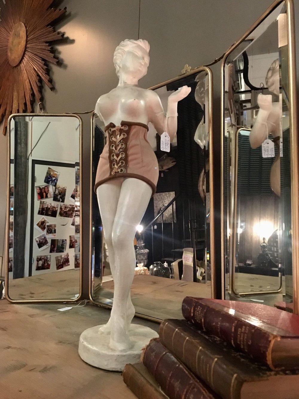 Tríptico espejos biselados dorado