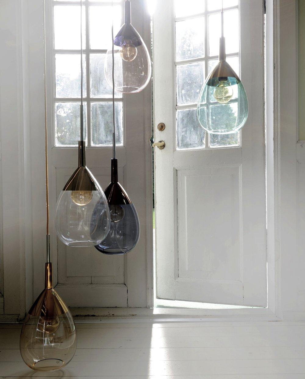 Lámparas de cristal en varios colores
