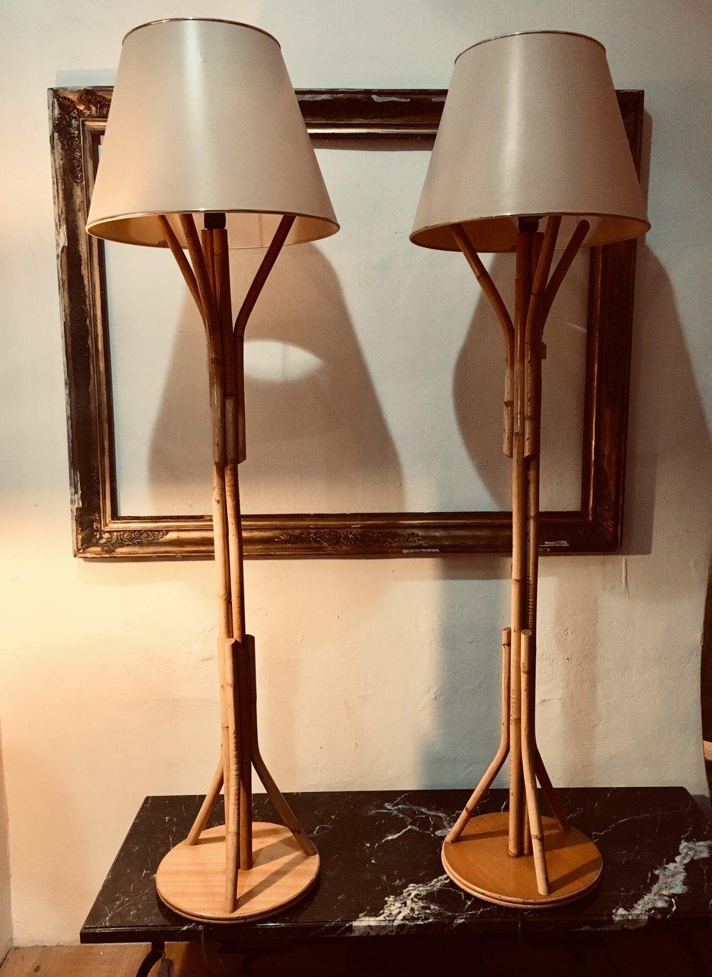 Lámparas de caña de bambú