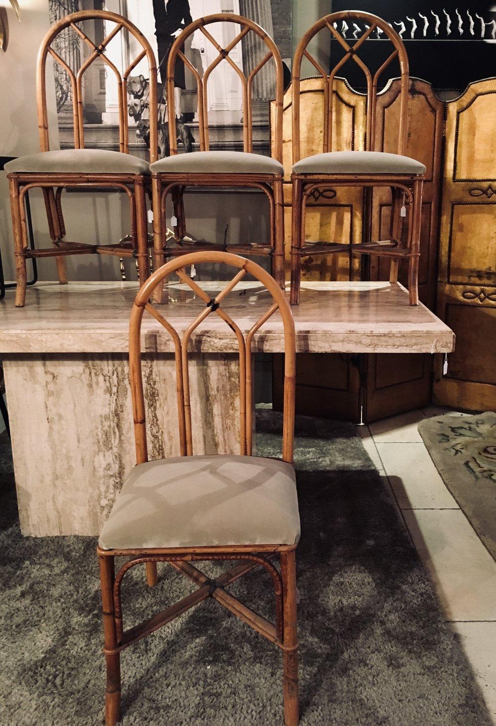 Sillas de caña de bambú tapizadas