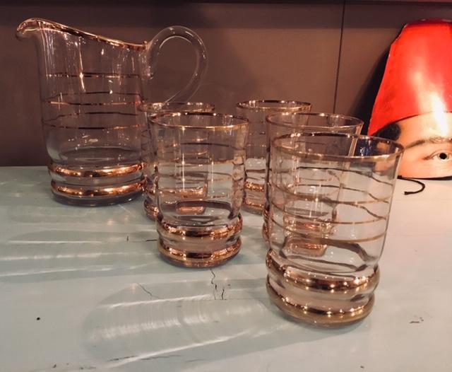 Juego de jarra y vasos cristal tallado